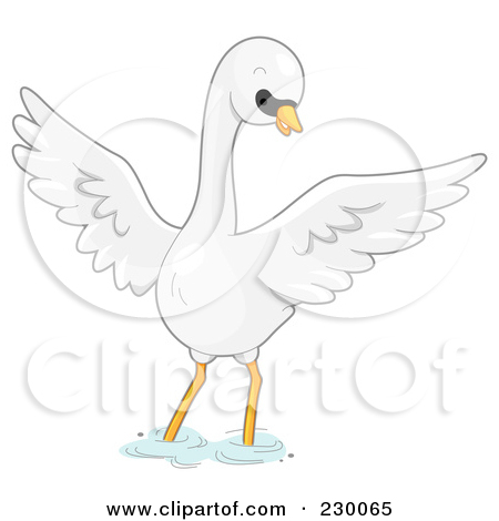 Clipart of a Swan Bird Mascot.