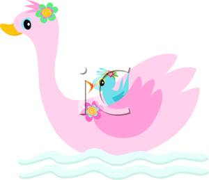 Pink Swan with a Blue Bird Under Its Wing Clipart Image.