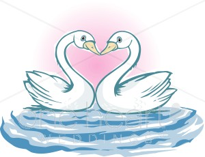 Cartoon Swans Clipart.
