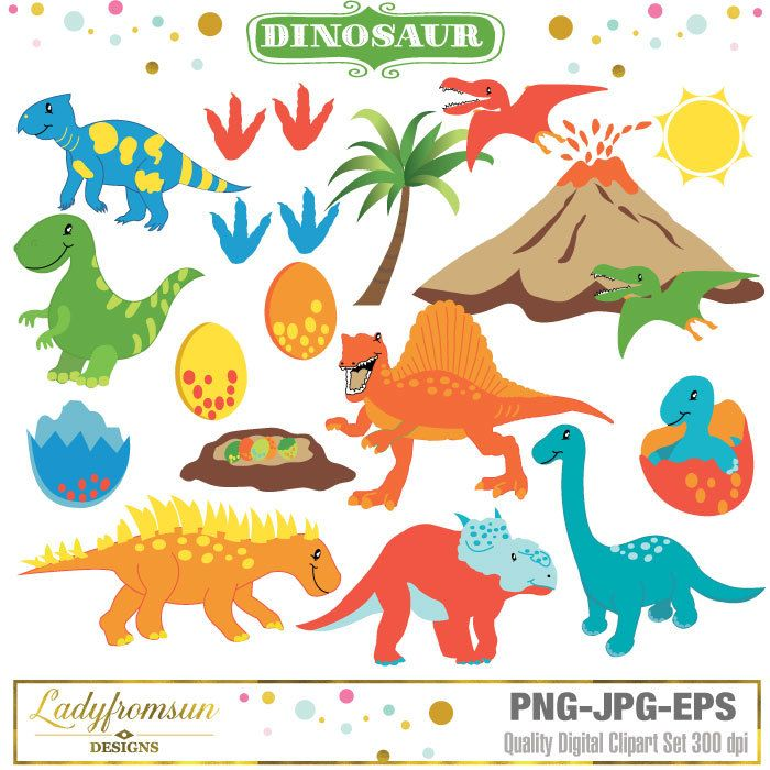 Dinosaur Clipart, prehistoric clipart, vector graphics, baby.