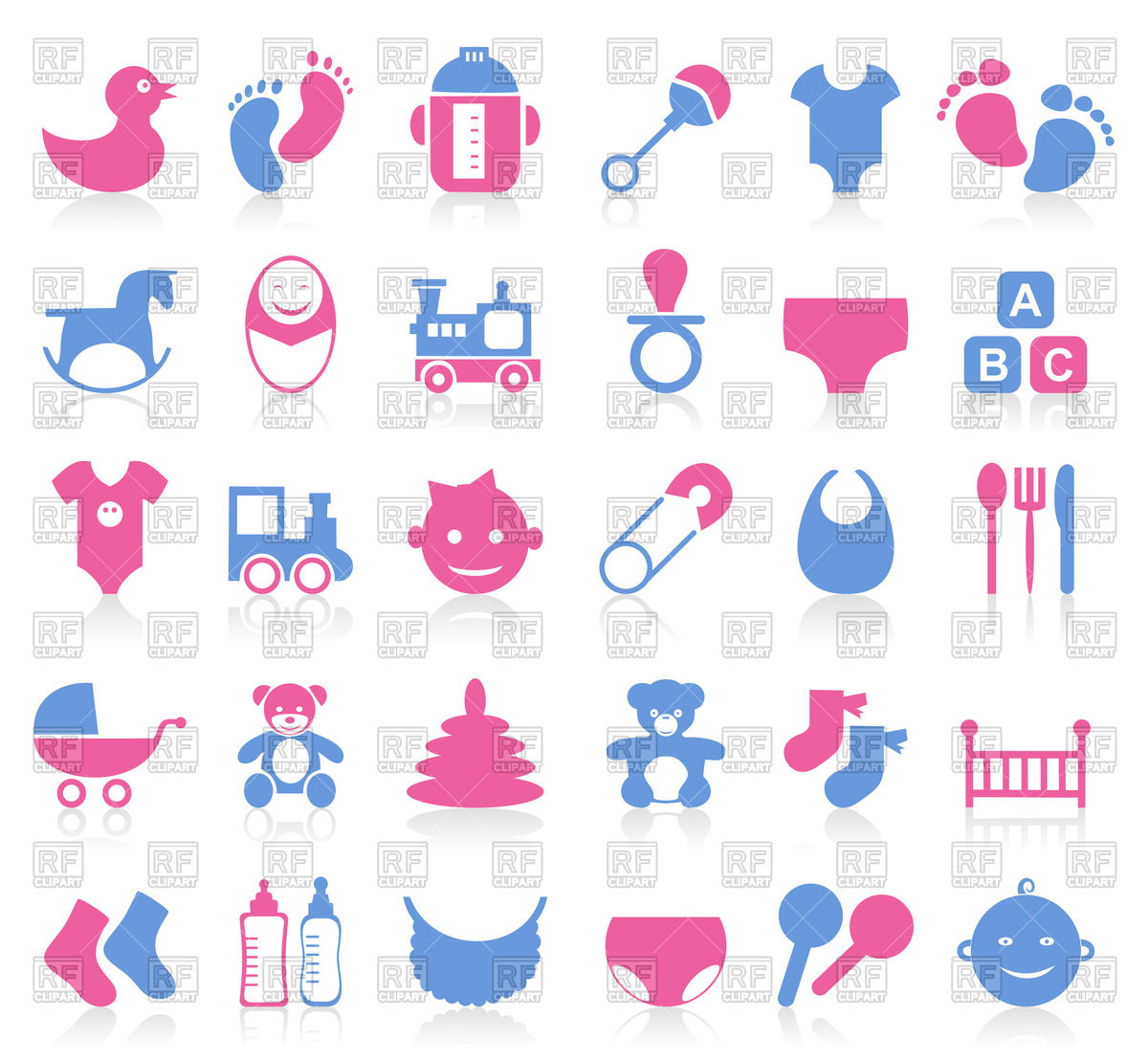 Set of icons on theme baby Stock Vector Image.