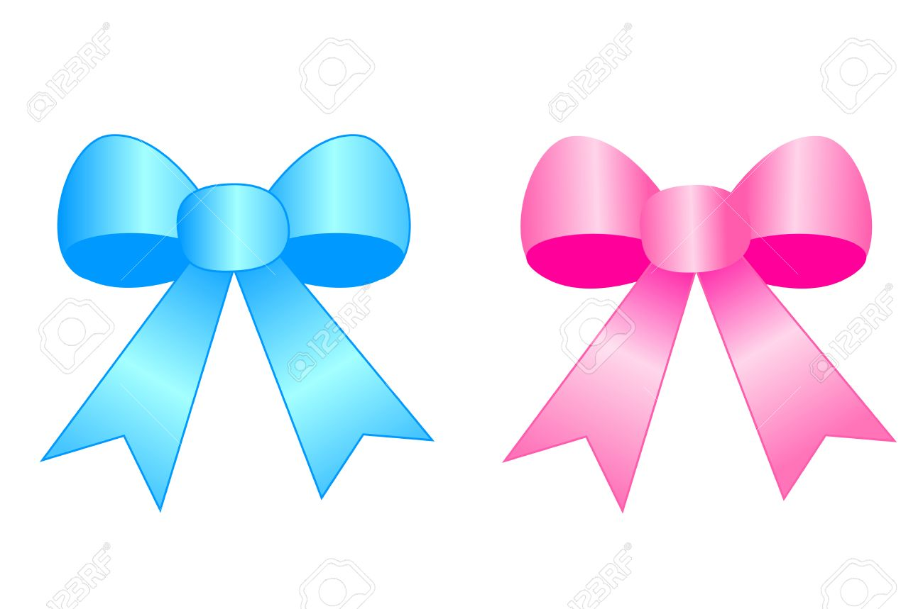 Blue and pink satin ribbon bows isolated on white background...