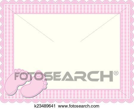 Baby Girl Gingham Frame Clipart.