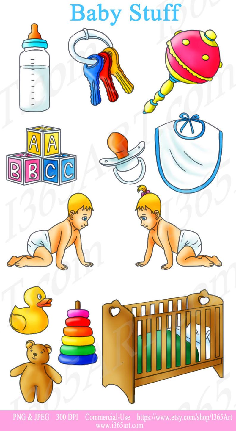50% OFF Baby Clipart, Baby Clip art, Baby Shower, Party, Invitations,  Infant, Nursery, Toys, Children, Rattle, Teddy, Scrapbooking, PNG JPEG.