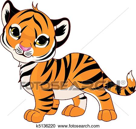 Walking baby tiger Clipart.