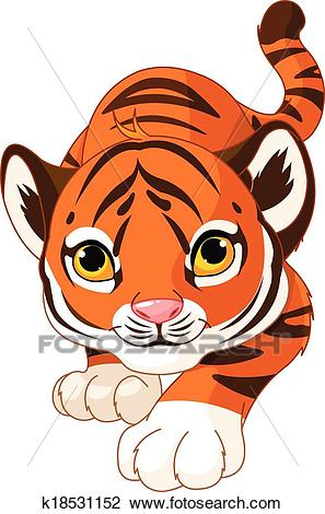 Crouching baby tiger Clipart.