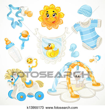 Set of blue baby toys Clipart.