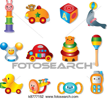 Vector toy icons. Baby toys Clipart.