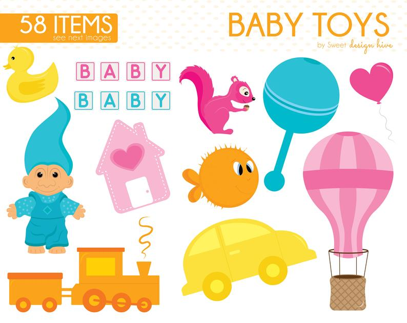 Baby Toys Clipart, Baby Clipart, Baby Shower Clipart, Nursery Baby Clipart,  Old toys, Planner Stickers, Commercial Use, CS0010.