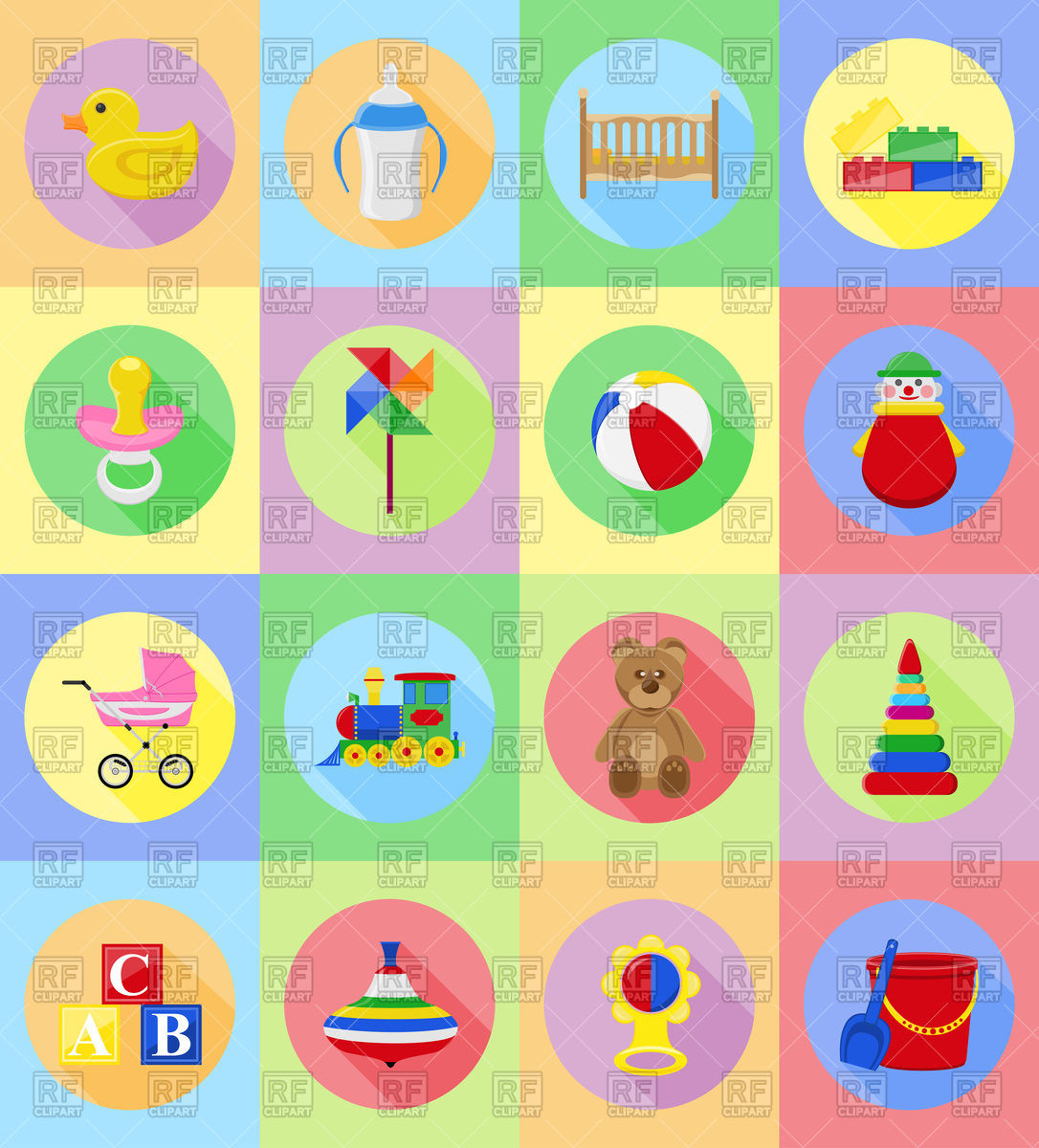 Baby toys and accessories flat icons Stock Vector Image.