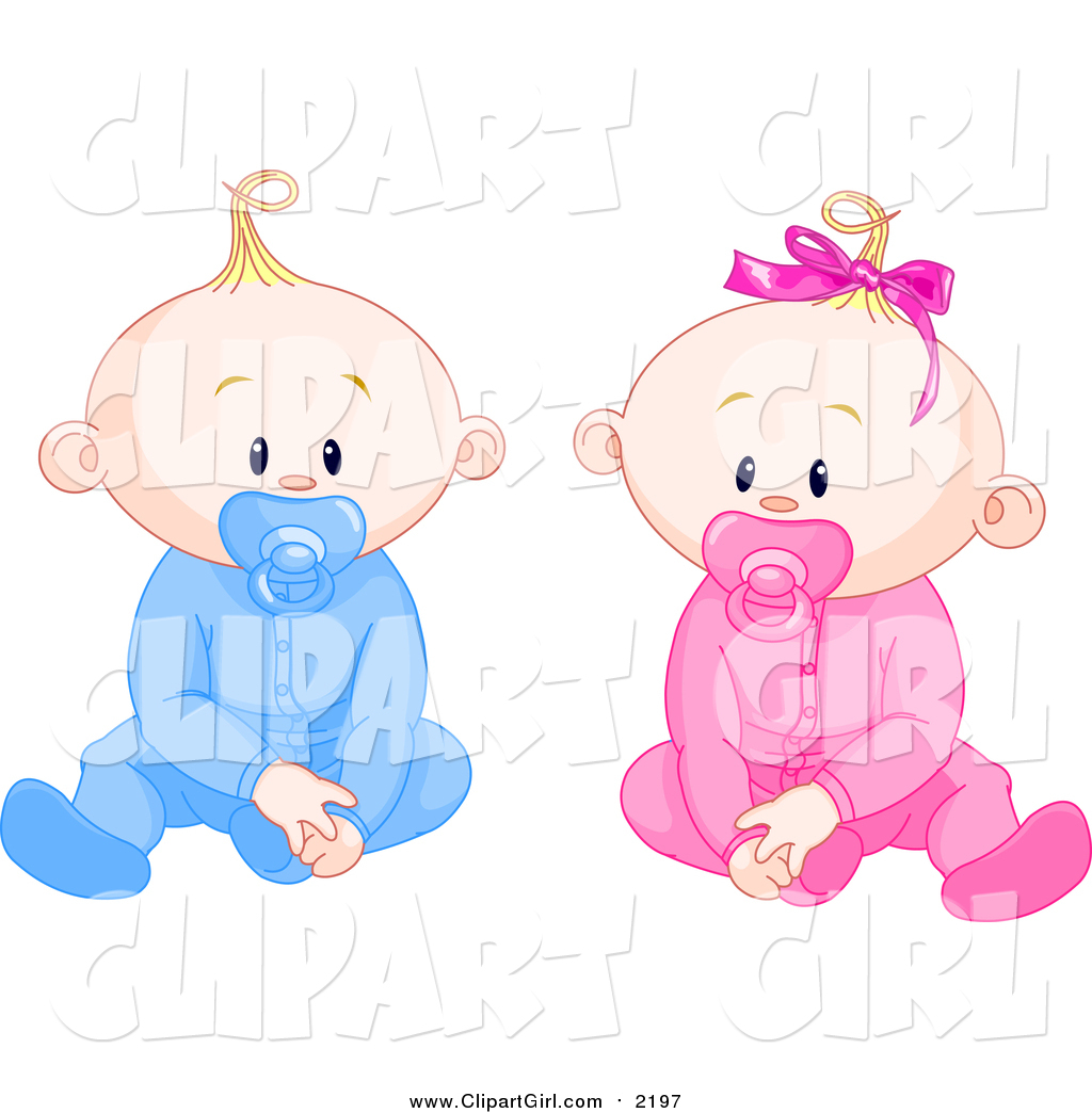 Clip Art of Caucasian Boy and Girl Baby Twins with Pacifiers.