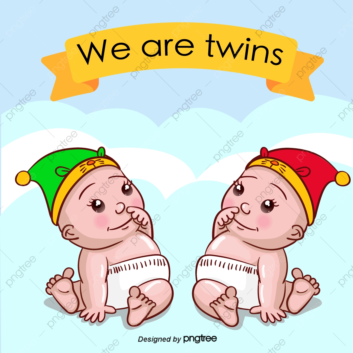 Vector Baby Twins, Baby Clipart, Baby, Cartoon Baby PNG and Vector.