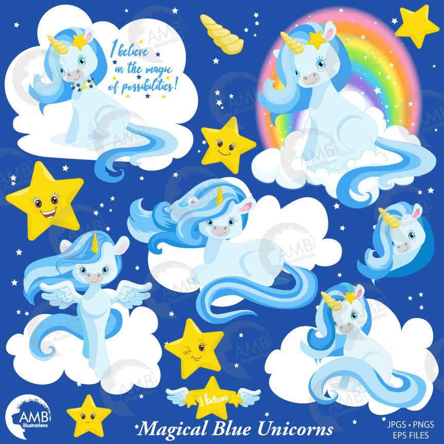 Unicorn clipart, Unicorn clip art, horse clipart, unicorn baby clip art,  Blue unicorns, AMB.