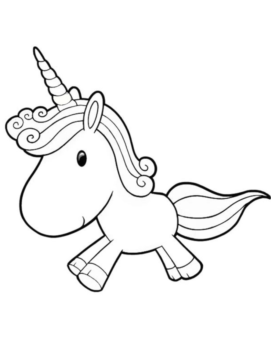 Baby Unicorn Clipart Black And White.