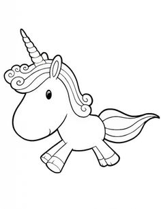 Baby Unicorn Clipart Black And White.
