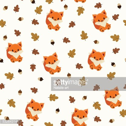 Baby fox seamless wallpaper Clipart Image.