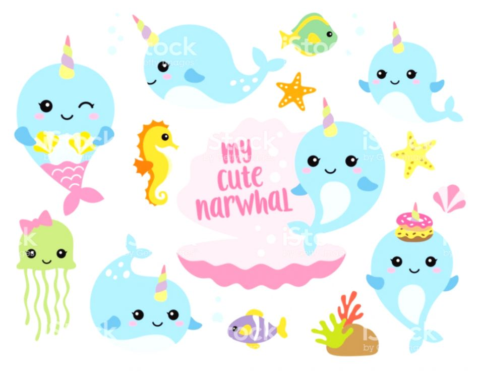 Cute Baby Sea Animals Clipart.