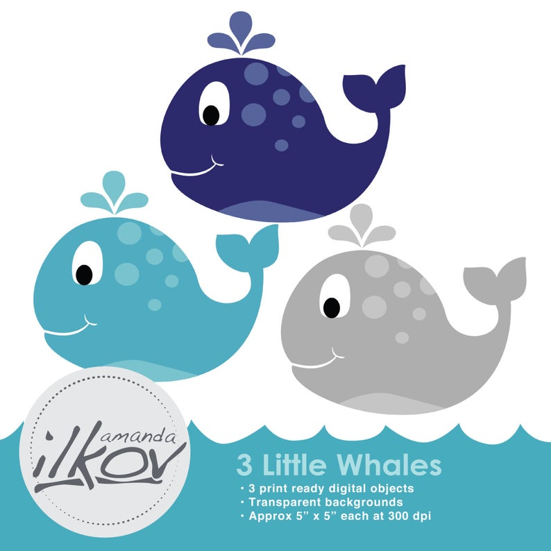 Premium Baby Whale Clipart for Digital Scrapbooking, Crafting, Invitations,  Web Design and More.
