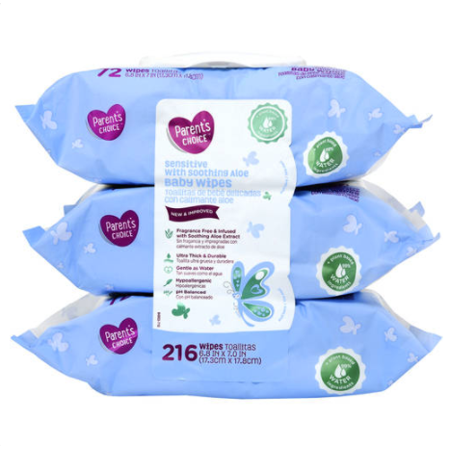 Parent's Choice Sensitive with Soothing Aloe Baby Wipes, 3 packs of 72 (216  count).