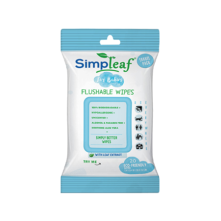 SIMPLEAF FOR BABIES FLUSHABLE WIPES (20 Count) 1PK.