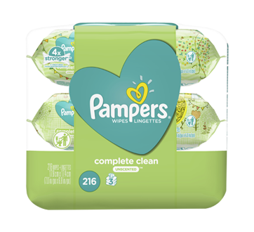 Complete Clean Baby Wipes, 216 units, Unscented.