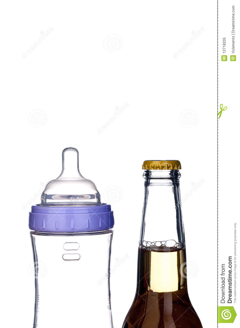 Baby Bottle And Beer Bottle On White Stock Image.