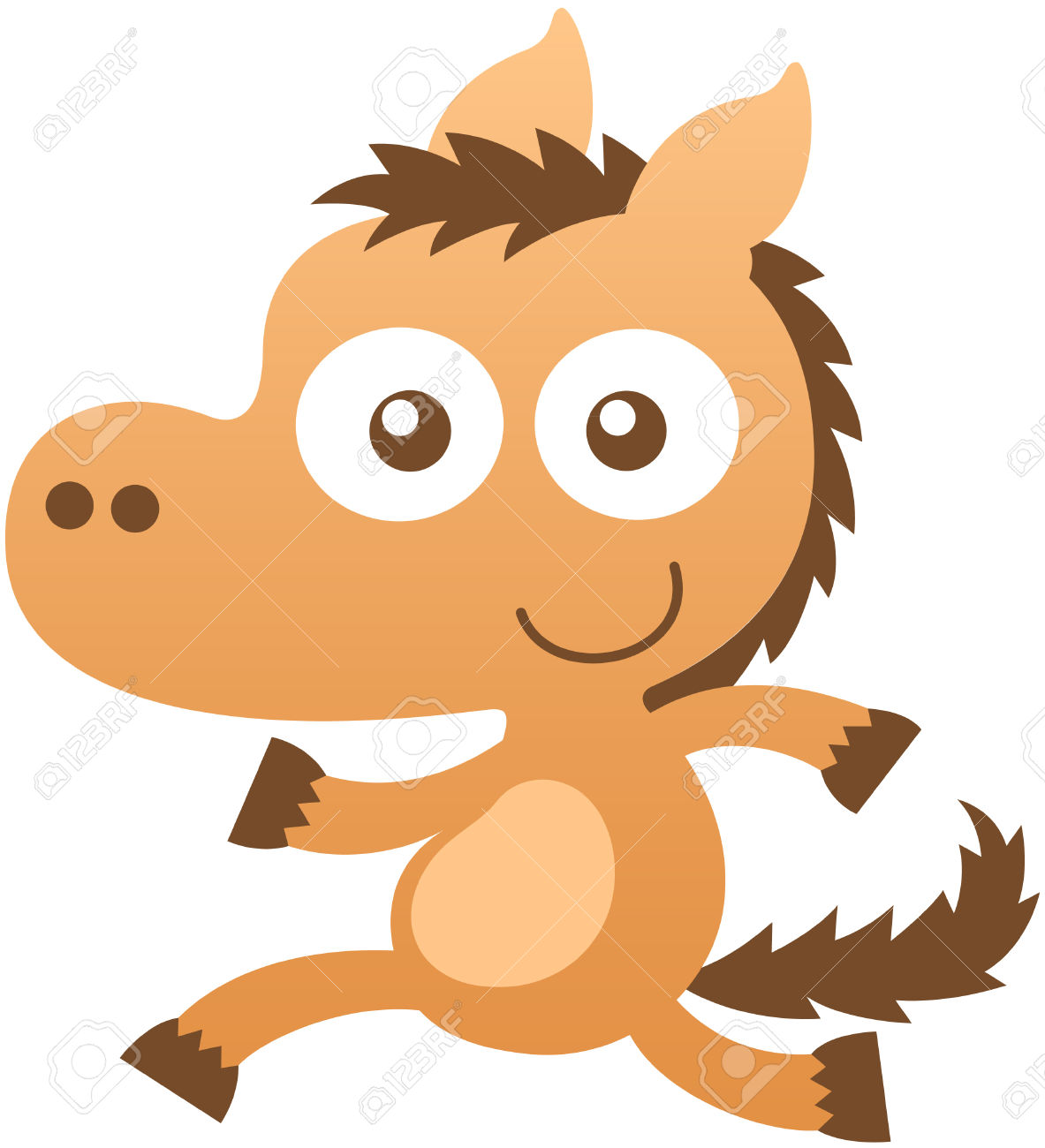 Lovely Baby Horse With Light Brown Fur, Pointy Ears, Bulging.