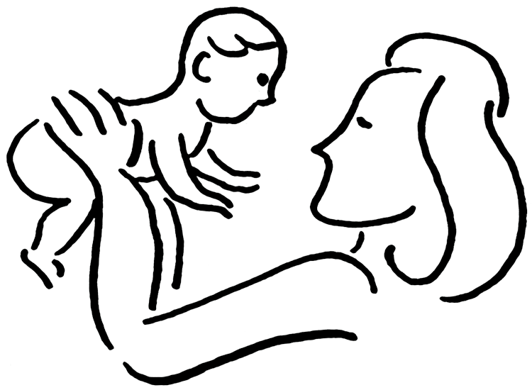 Mother and child clipart #6