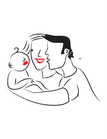 Mom dad and baby clipart.