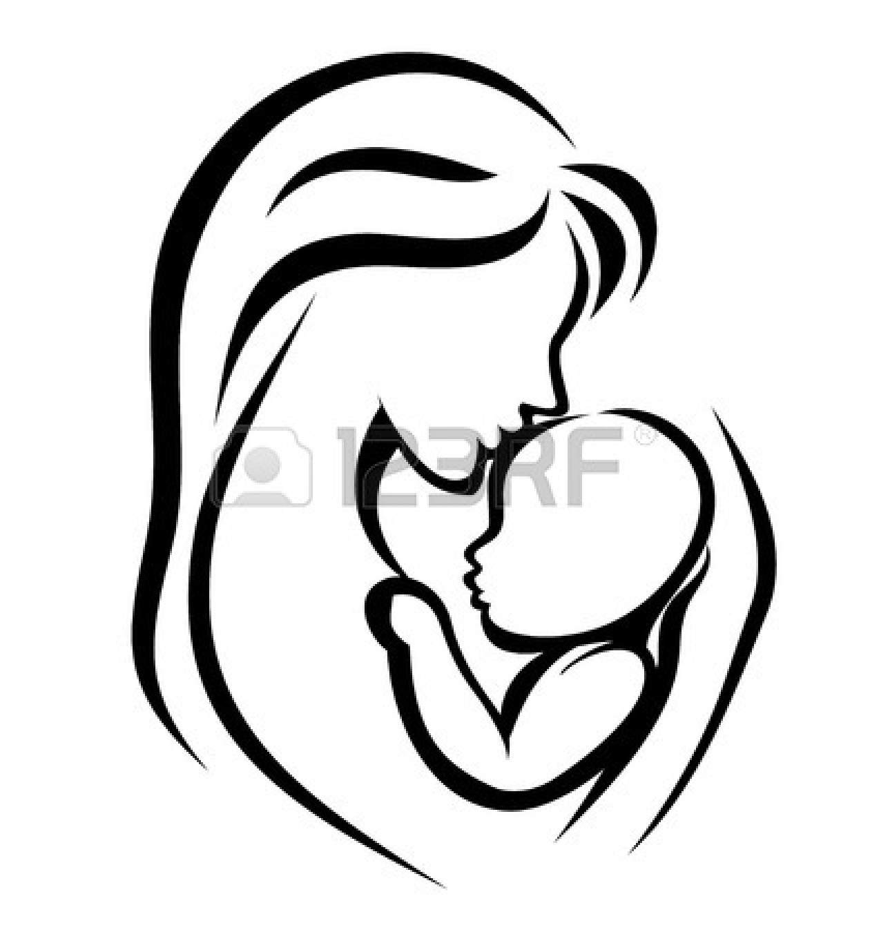Mother and child clipart #10