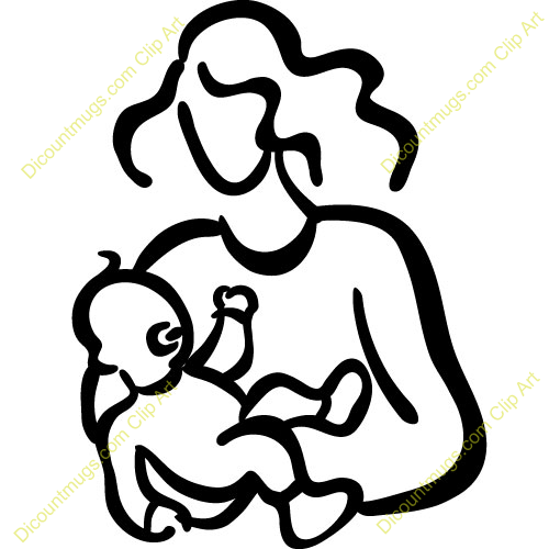 Mom holding baby clipart.