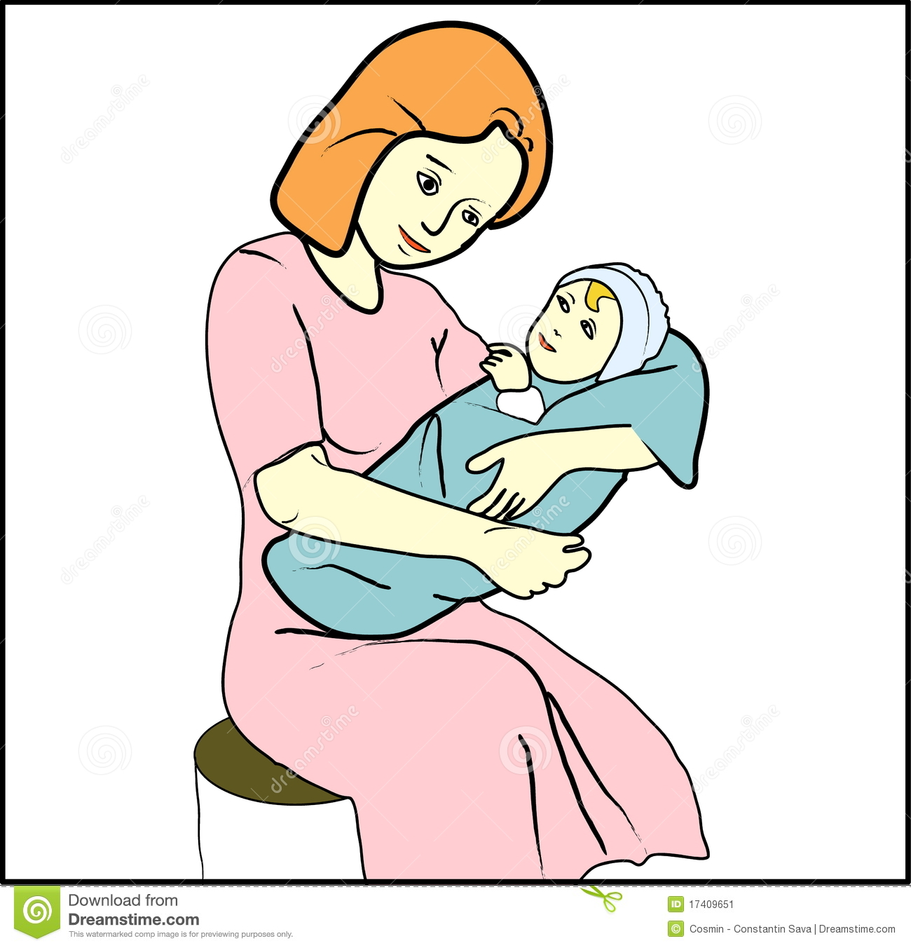 Mother Rocking Baby Clipart.