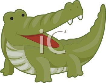 picture of a cartoon alligator with his mouth open in a.