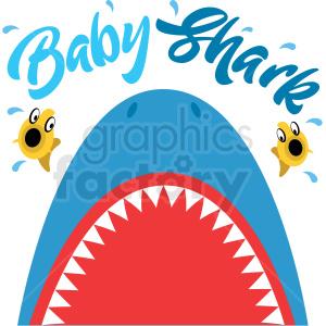 silly blue cartoon shark with large teeth vector clipart.