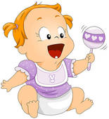 Baby with Rattle Clipart.