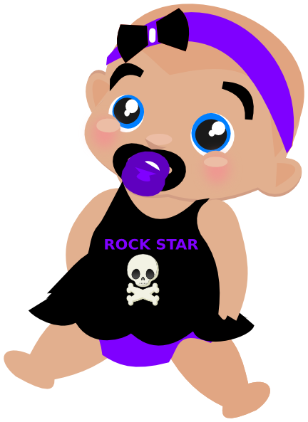 Baby with star sunglasses clipart.