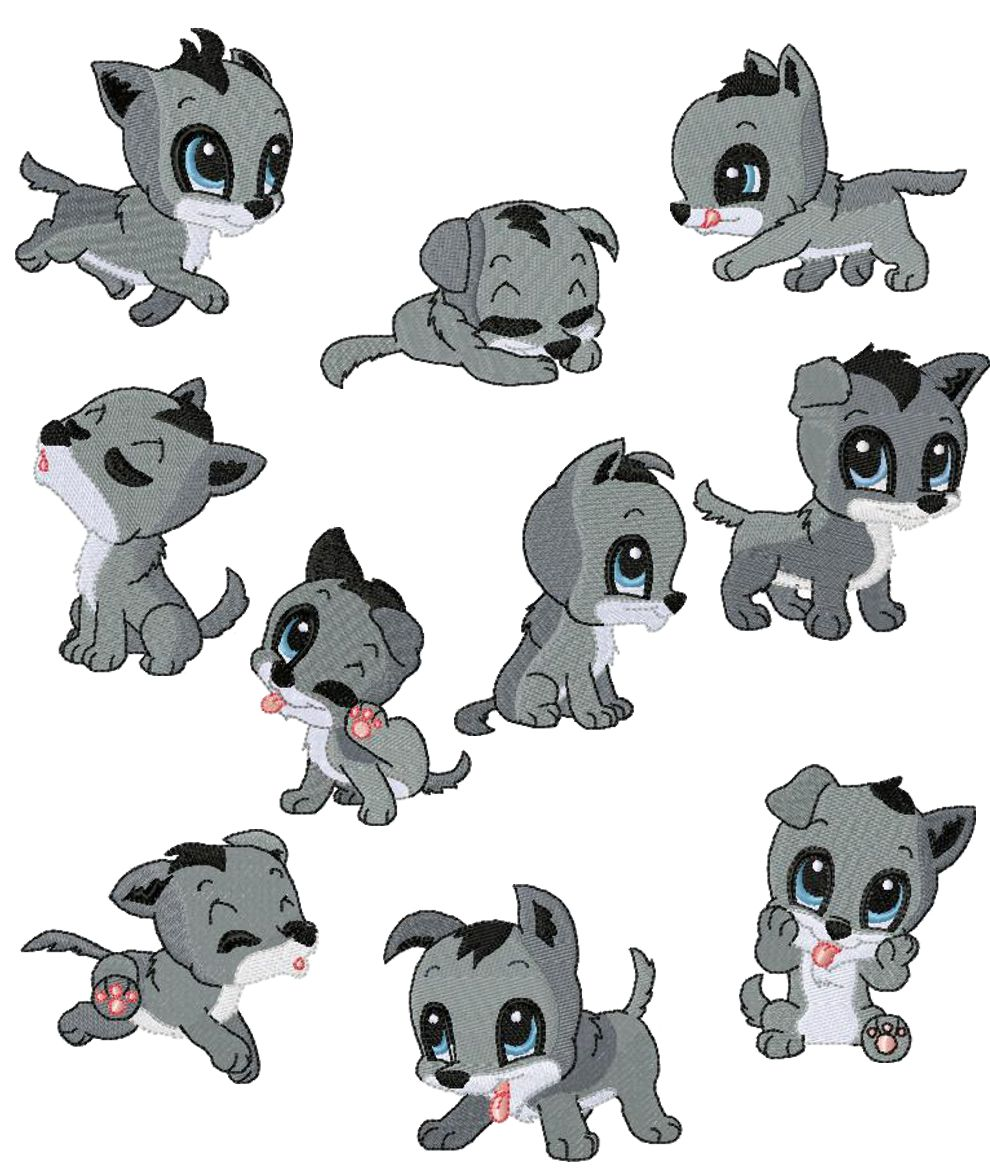 Cute Clipart Baby Wolf.