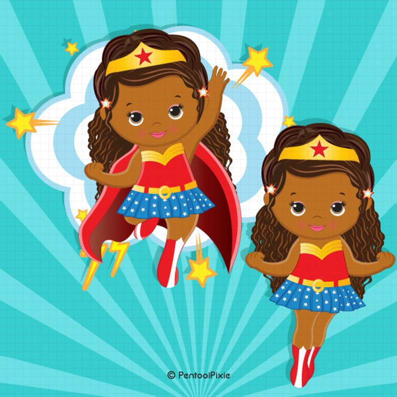 African American Wonder woman baby girl clipart , Superhero baby girl  clipart, Baby girl clipart, Girl superhero.