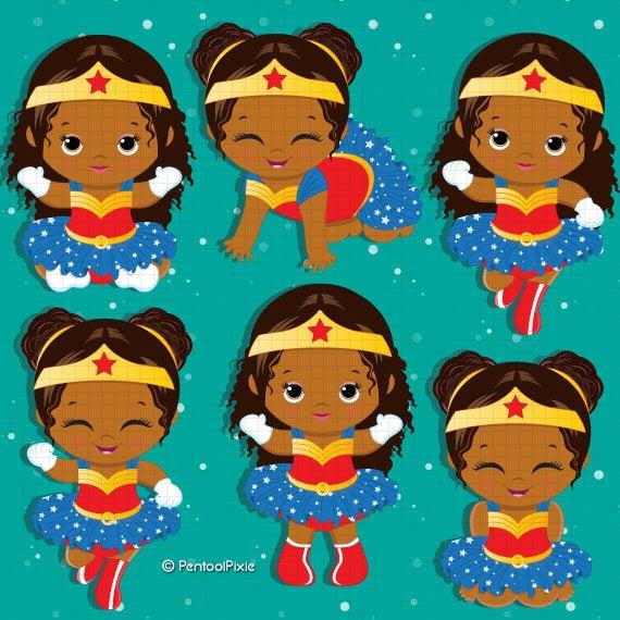 African American, Wonder woman baby girl clipart , African, Superhero baby  girl clipart, Baby girl clipart, Girl superhero.
