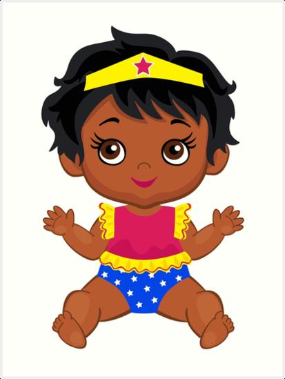 'African American Wonder Women Baby.' Art Print by Sandytov.