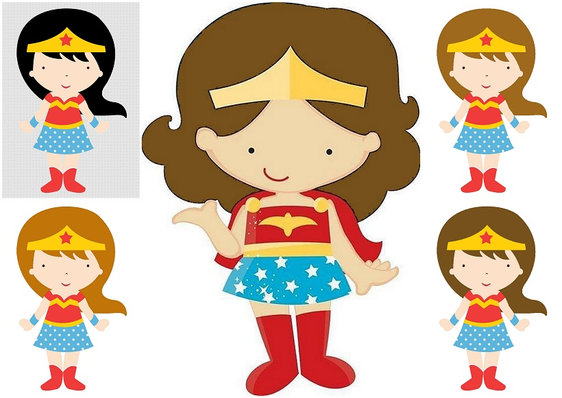 Wonder Woman Baby in Different Styles Clipart..