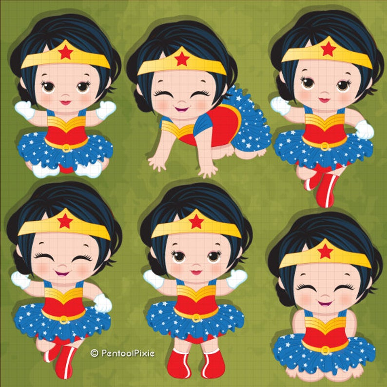 Wonder woman baby girl clipart , Superhero baby girl clipart, Baby girl  clipart, Girl superhero.
