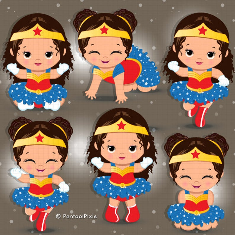Wonder woman baby girl clipart, Brown skin, Hispanic, Superhero baby girl  clipart, Baby girl clipart, Spanish clipart, Girl superhero.