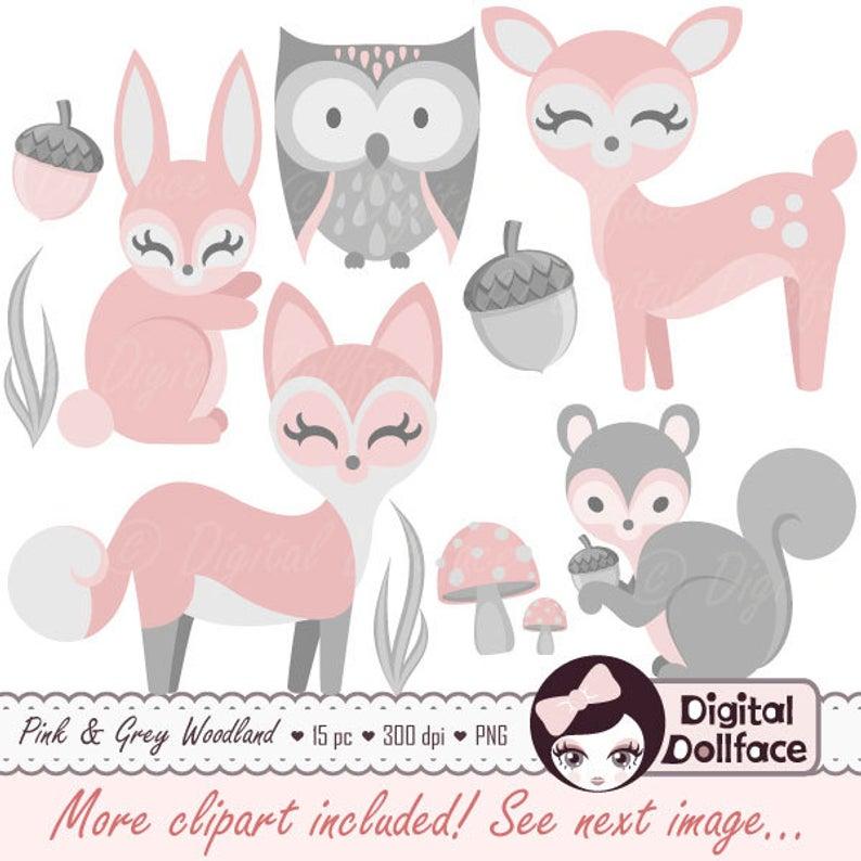 Baby Woodland Animal Clipart, Girl, Baby Clip Art, Pink Bunny, Deer & Fox.