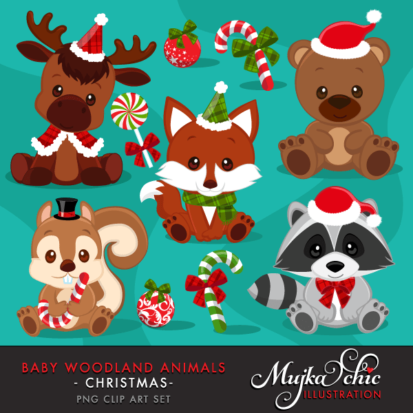 Christmas Baby Woodland Animals clipart. Baby fox, Baby squirrel, Baby  moose, baby raccoon, baby bear graphics with Christmas Graphics!.