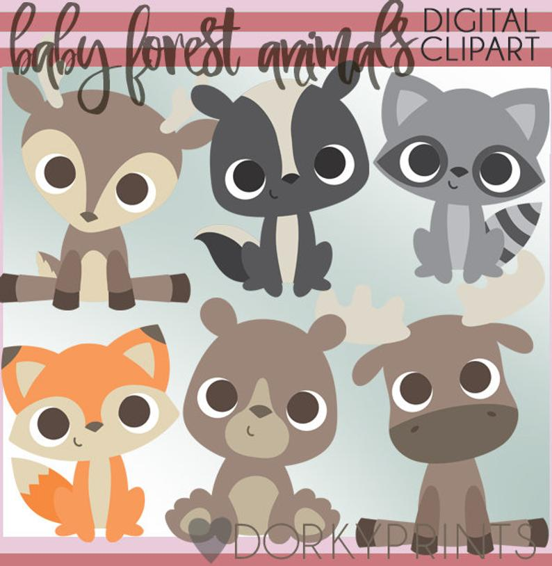 Baby Woodland Animals PNG Clipart.