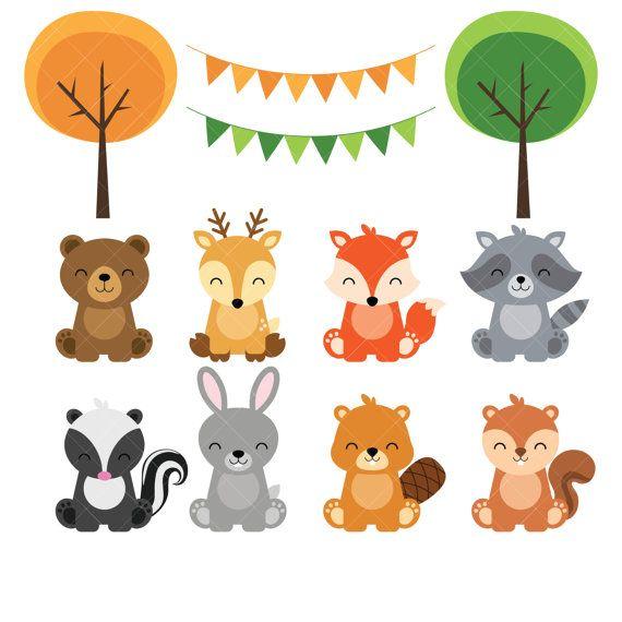 Clipart de animales bebé bosque.