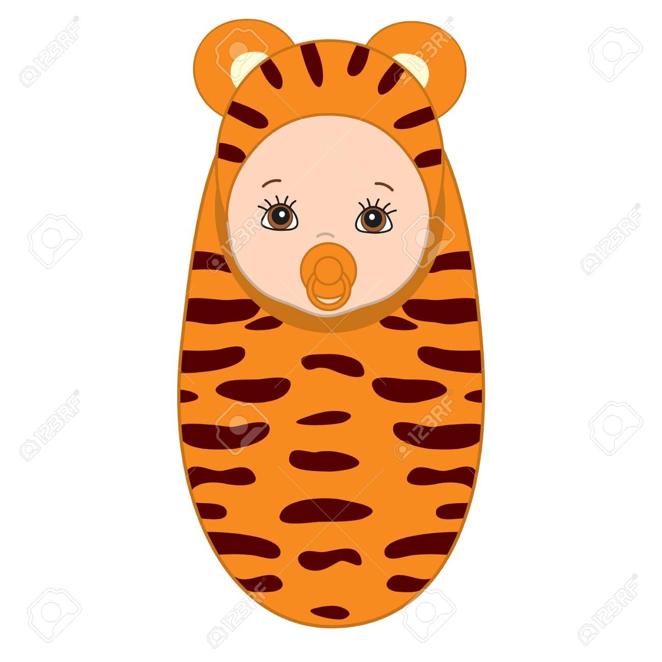 Vector cute baby wrapped in blanket with tiger pattern. Baby...