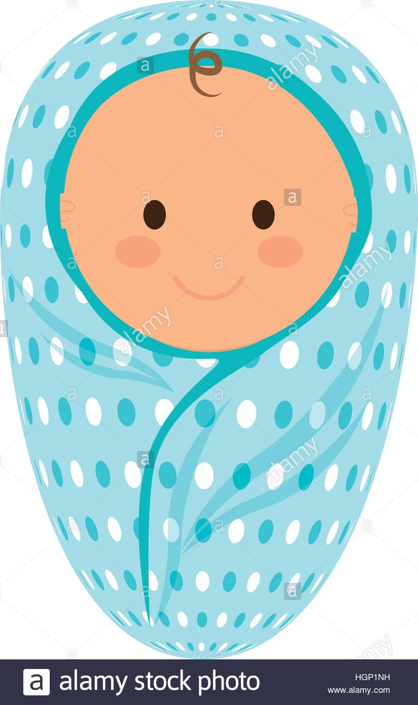 cute baby boy wrapped in a blanket icon over white background Stock.