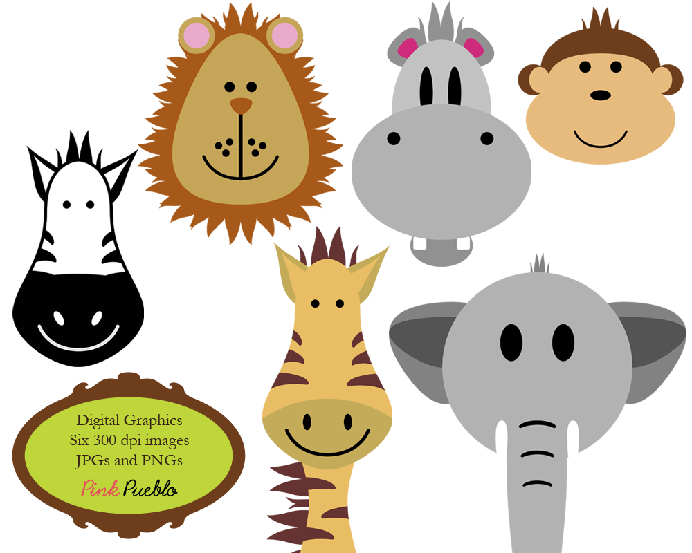 Free Coloring Pages: Baby Zoo Animal Clipart.